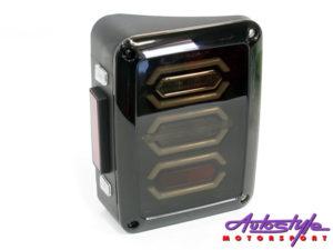 Jeep Wrangler Honeycomb LED Smoked Tailights (pair)-0