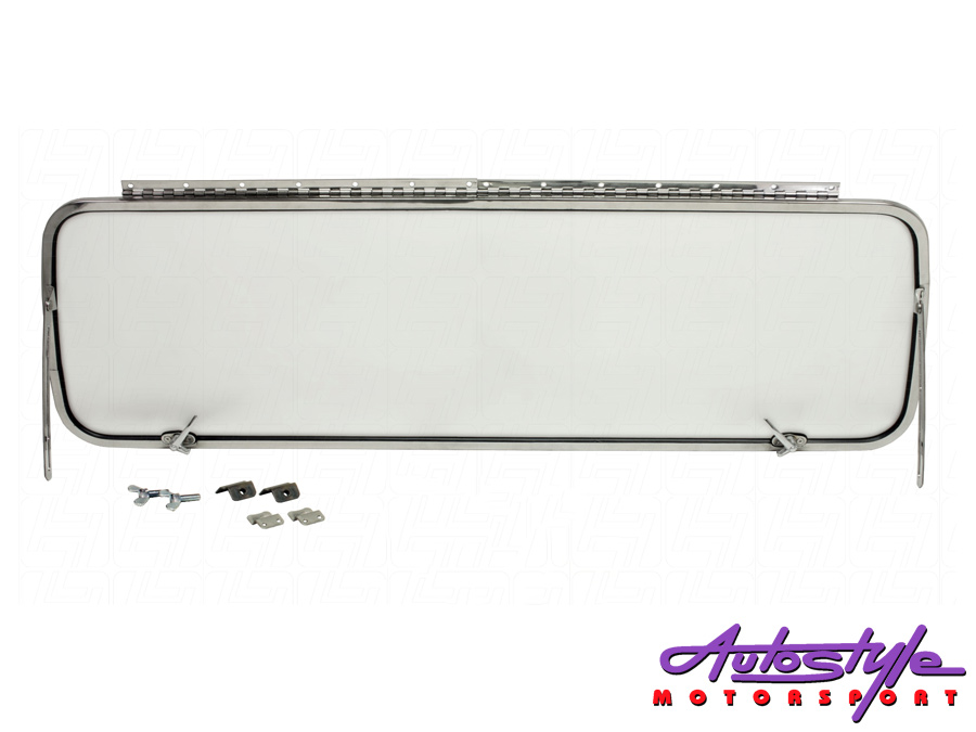 VW Bus Rear Safari Window Kit finished in Stainless Steel -0