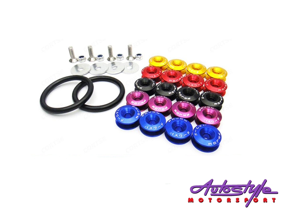Universal Aluminum JDM Quick Release Fasteners For Bumpers (Spike Black)-0