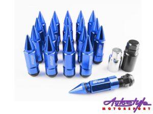 Blue Spike Style 12x1.5 Wheel nuts (set)-0