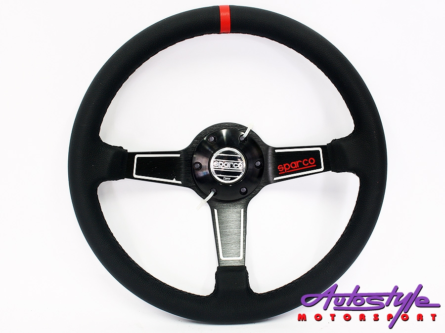 SPRC Black with red stitch sport steering wheel-0