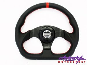 SPRC Flat Base Black with Red Stitch Steering Wheel-0