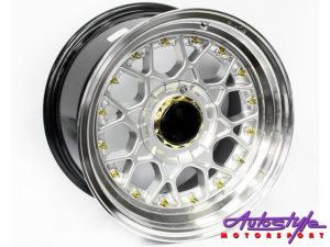 """15"""" BSS Silver w/Gold Stud 4/100 & 4/108 Alloy Wheels-0"""