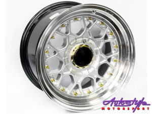 "14"" BSS Silver w/Gold Stud 4/100 & 4/114Alloy Wheels-0"
