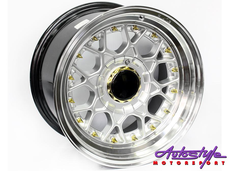"""14"""" BSS Silver w/Gold Stud 4/100 & 4/114Alloy Wheels-0"""