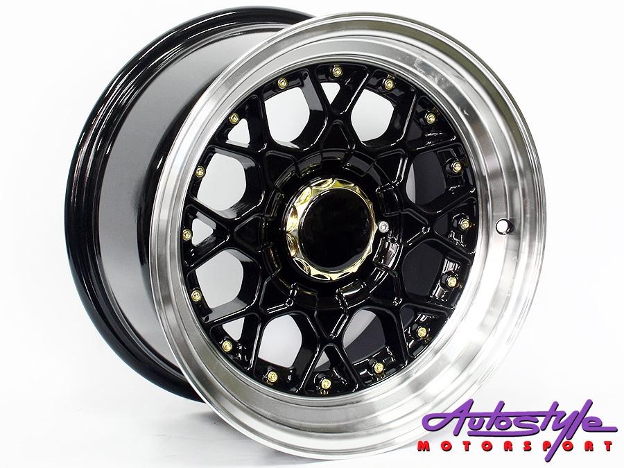 """15"""" BSS 4/100 & 4/108 Black Alloy Wheels-0"""