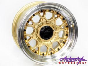 "15"" R-Line BSS 4/100 & 4/114 Gold Alloy Wheels-0"