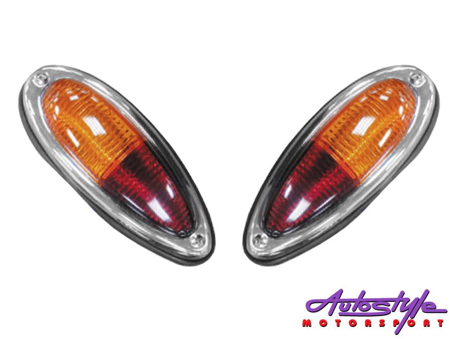 Porsche 356 Amber/Red Teardrop Tailights (pair)-0