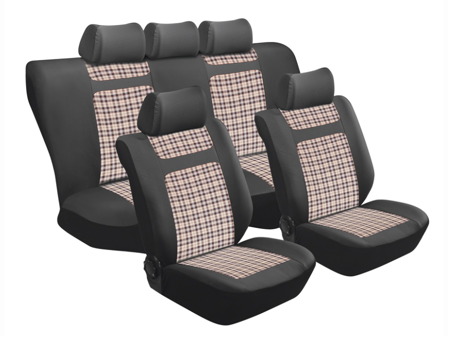 Stingray Tartan/Beige Gingham 11pc Seat Cover Set