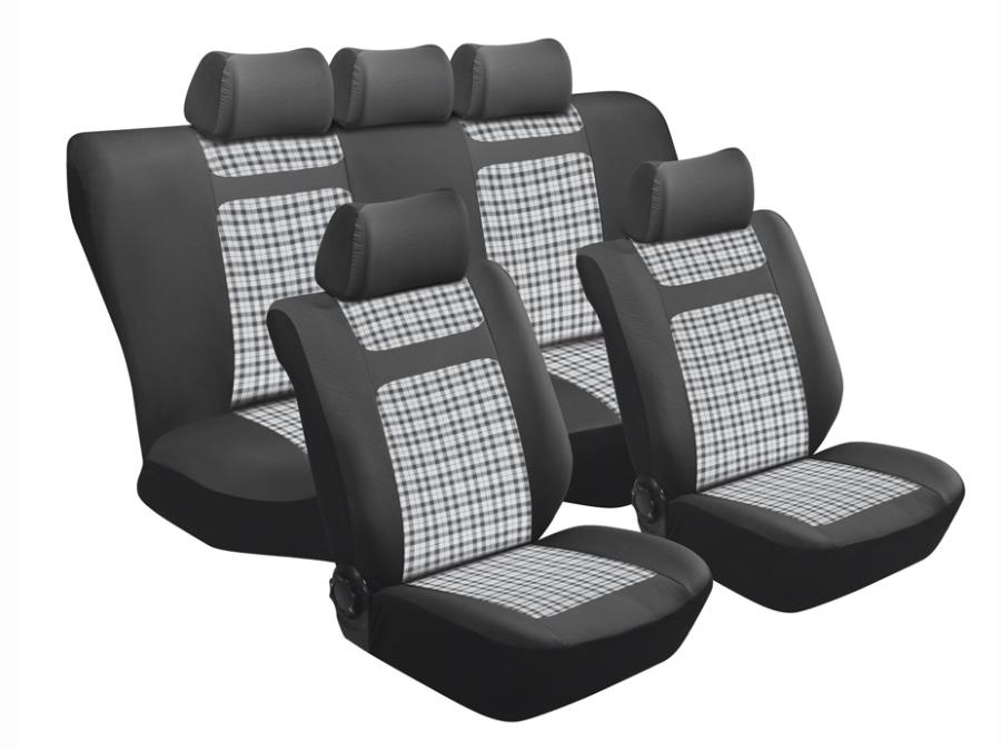 Stingray Tartan Grey Gingham 11pc Seat Cover Set