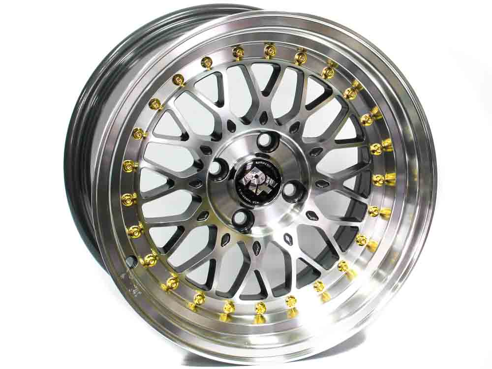 15″ Axe Pro XB 4/100 M Gold Rivet Alloy Wheels