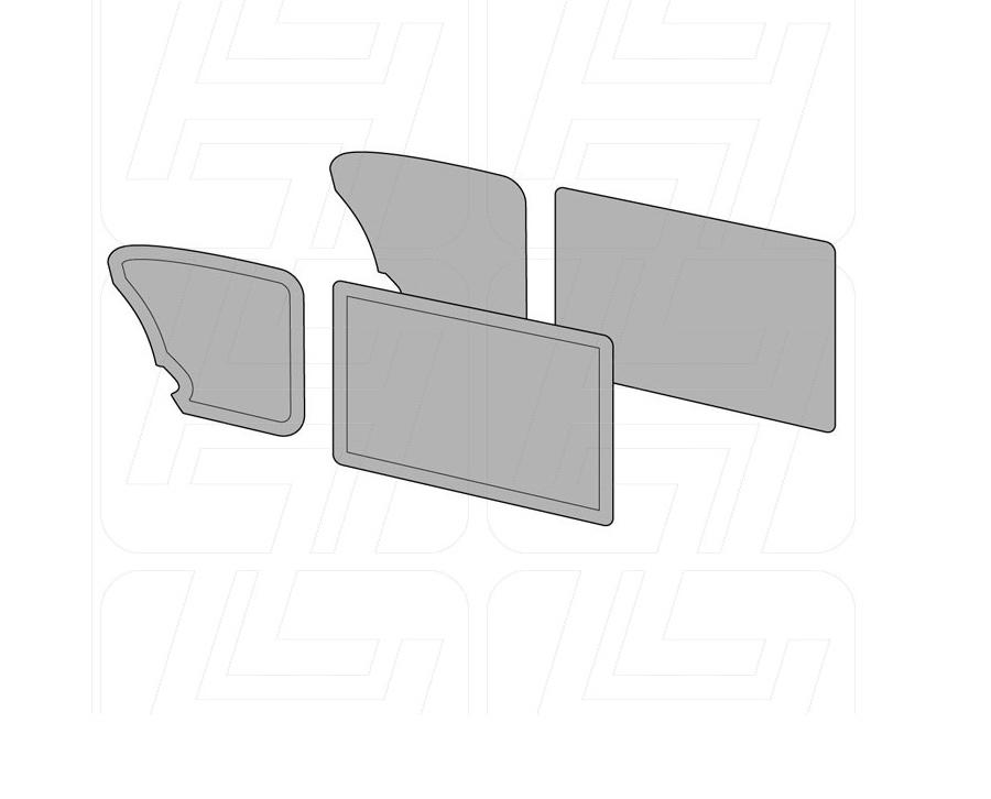 VW Beetle Door Card Set without Door Pockets in Black Vinyl