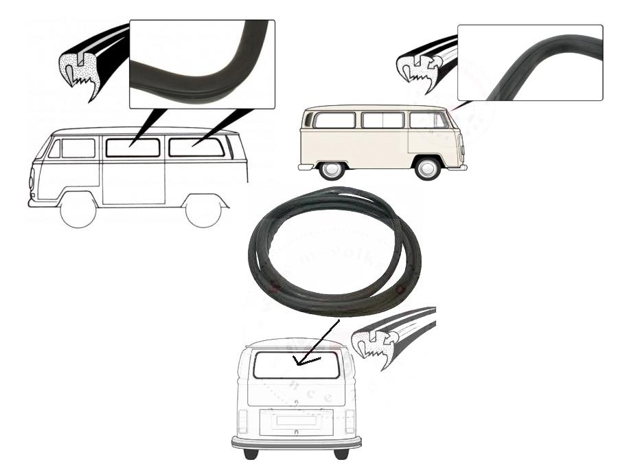 VW Classic Bus 68-79 Window Rubber Kit (Front/Side/Rear)