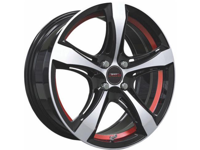17″ A-Line Ashton 4/100 Gloss BKMF Red Alloy Wheels