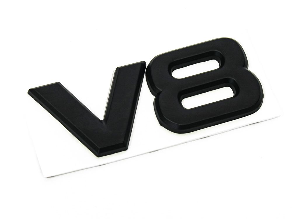 V8 Matt Black Sticker Badge