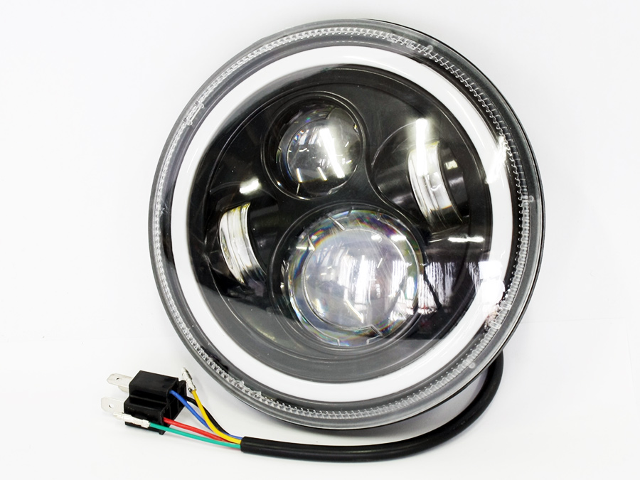 7″ Motorcycle Angel Eye Headlights with hi/lo beam & indicator