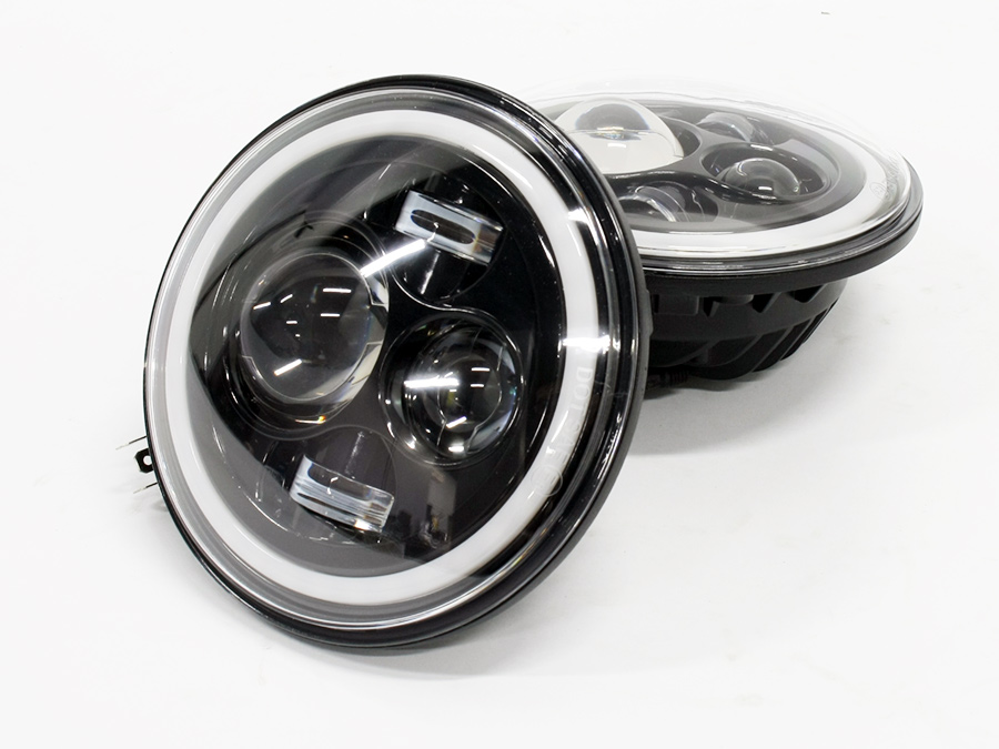 Jeep 7″ Headlights with Multicolor RGB Angel Eye Feature