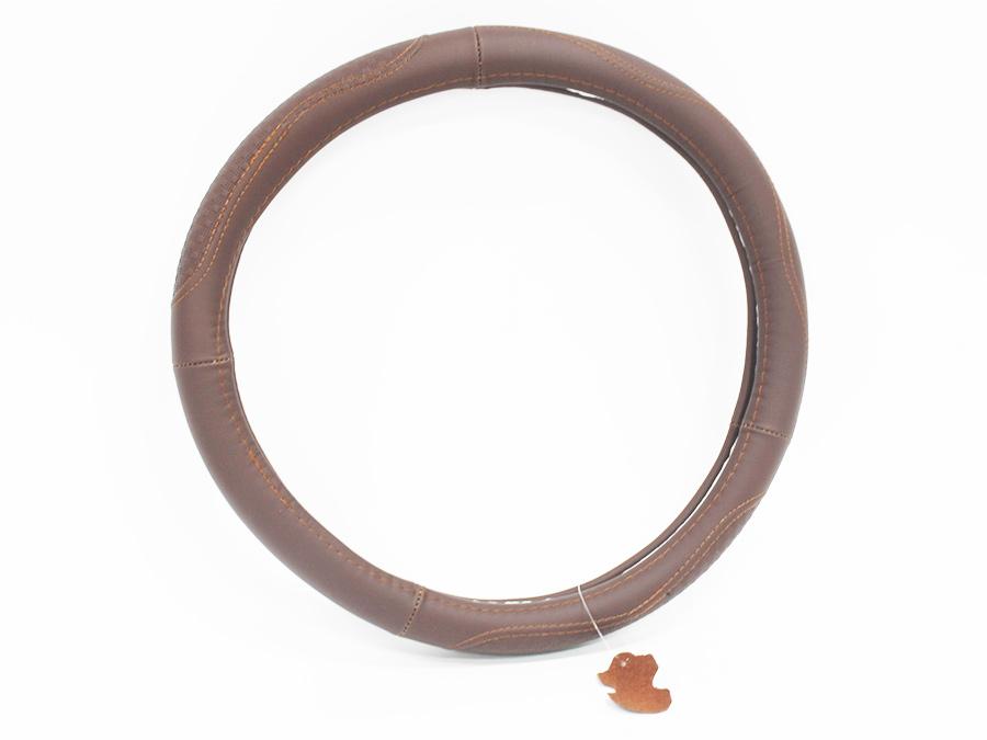 Dark Brown Leather Steering Wheel Cover