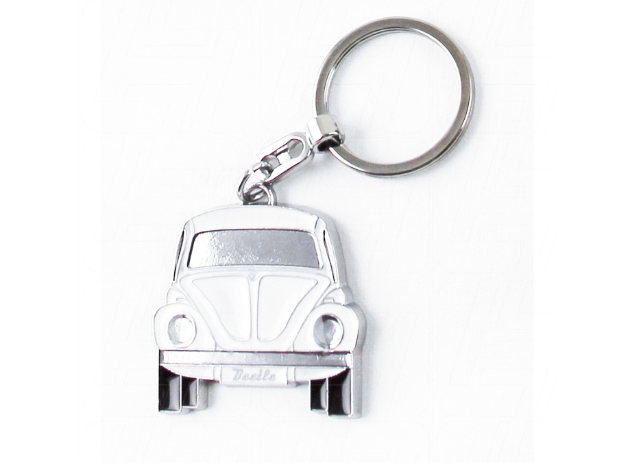 VW Classic BeetleChrome and White Keyring