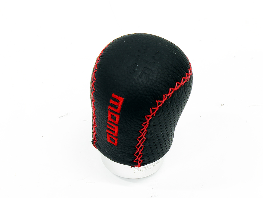 Momo Racing Black with Red Stitch Flat Top Gear Shift Knob
