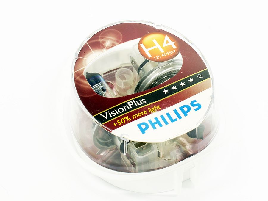 Philips Vision Plus H4 Headlight Bulbs (pair)