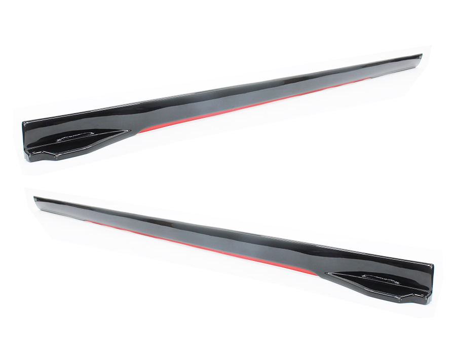 Universal Plastic Side Skirts with Red Trim