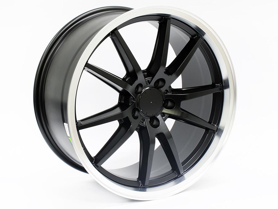 19″ IVD 0002 5/112 Matt Black with machined lip alloy wheels
